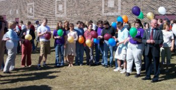 Photo of AVAIL Domestic Violence Balloon Release